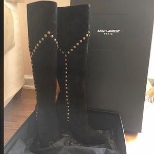 YSL- SAINT LAURENT black suede boots